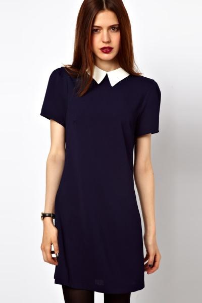 платье с воротником черное фото