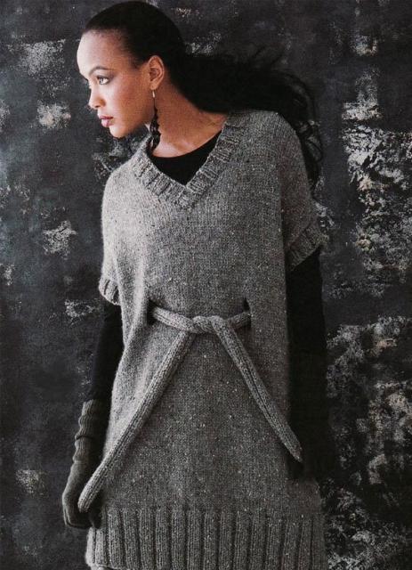 платье туника вязаное спицами
