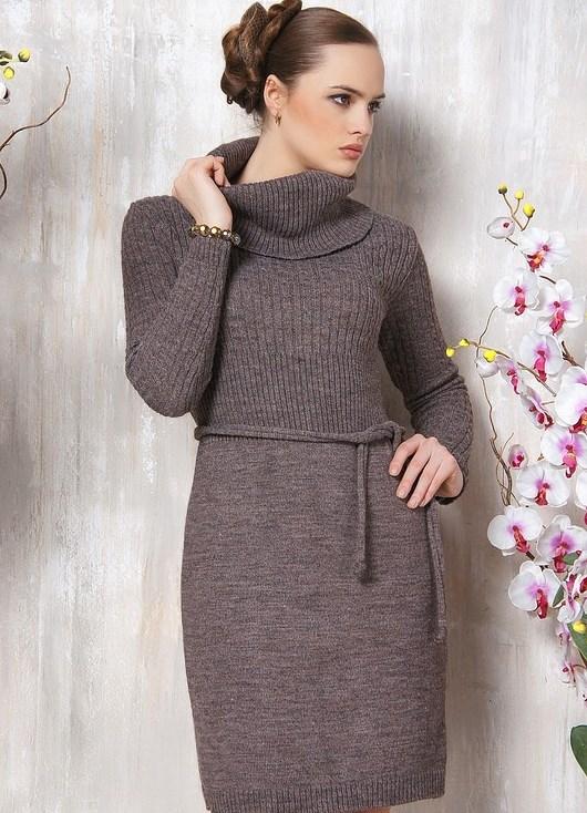 Вязаные платья для полных женщин