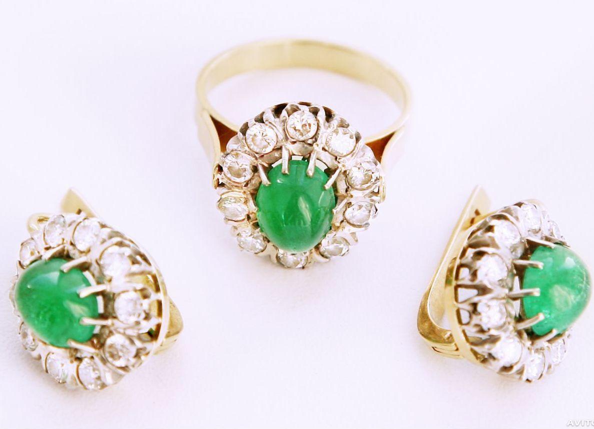 2ccf43441001 Золотые комплекты - серьги и кольцо
