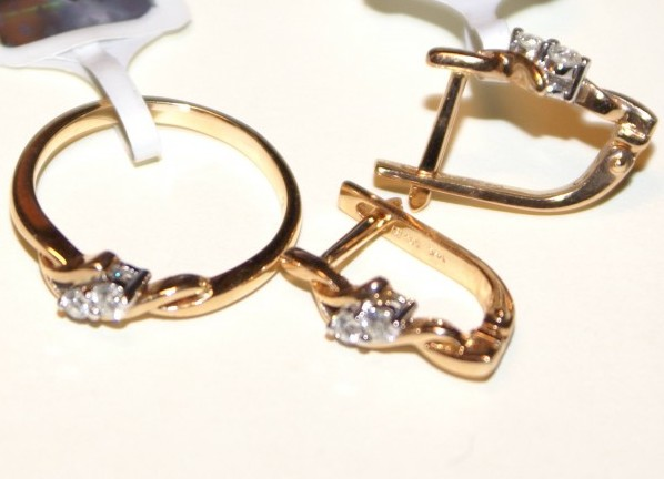 31d4c85a7091 ... Золотые комплекты серьги и кольцо 3