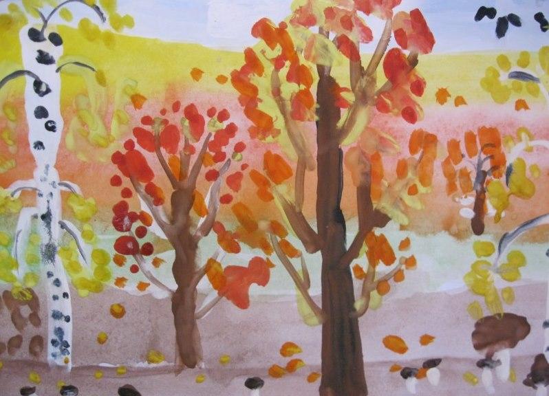 Осенний лес картинки для детей нарисованные