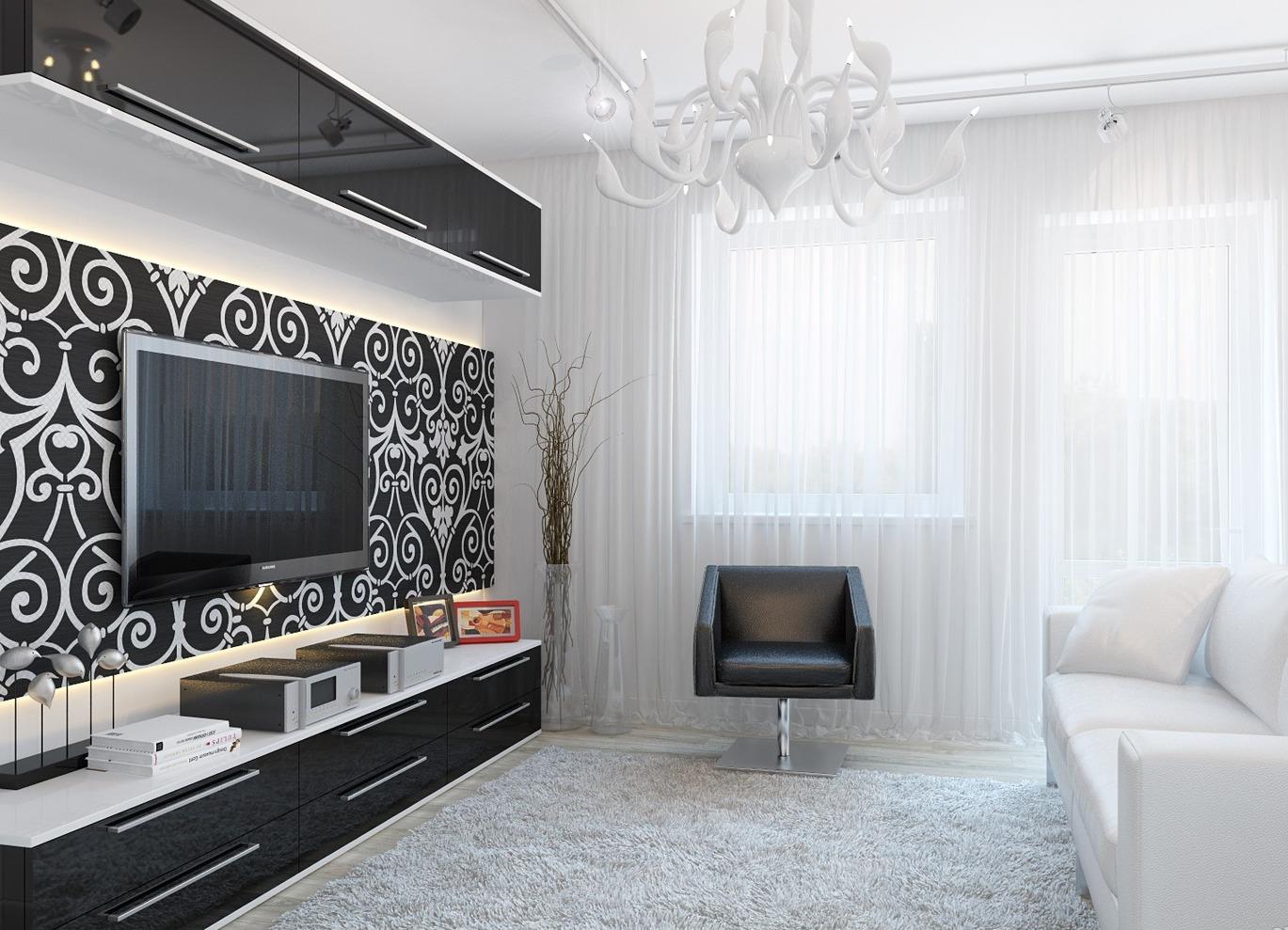 Черно белые фото в интерьере гостиной фото