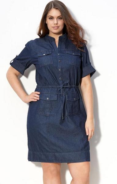джинсовые платья для полных женщин фото