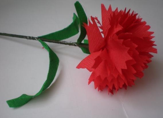 Красная гвоздика поделка из гофрированной бумаги без стебля