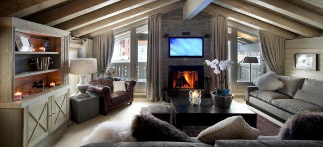интерьер в стиле шале дизайн гостиной спальни кухни