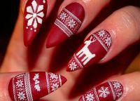 красный маникюр на новый год12