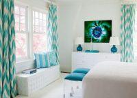 Бело-бирюзовая спальня2
