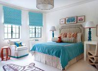 Бело-бирюзовая спальня3
