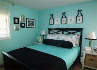 Дизайн спальни в бирюзовом цвете1