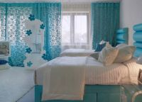 Дизайн спальни в бирюзовом цвете2