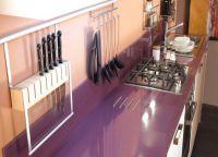 Фиолетовая столешница для кухни2
