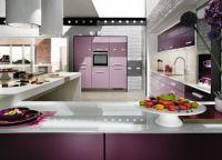 Интерьер кухни в фиолетовых тонах3