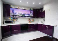 Кухня с фиолетовыми фасадами1