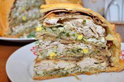 Рецепт курника с блинами, курицей и грибами