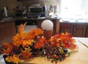 топиарий из осенних листьев 8