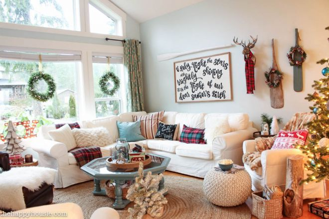 Lake-Cottage-Christmas-Decorating-in-our-Living-and-Dining-Room-at-thehappyhousie.com-Country-Living-Christmas-Home-Tour-1