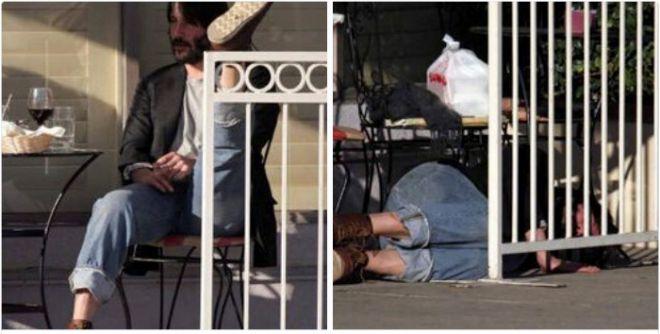 Киану спит под забором