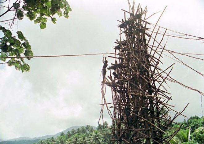 Человек стоит на высокой деревянной конструкции
