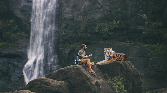 Мужчина с тигром