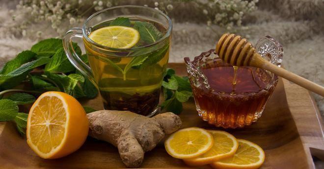 Имбирный чай с мятой и медом