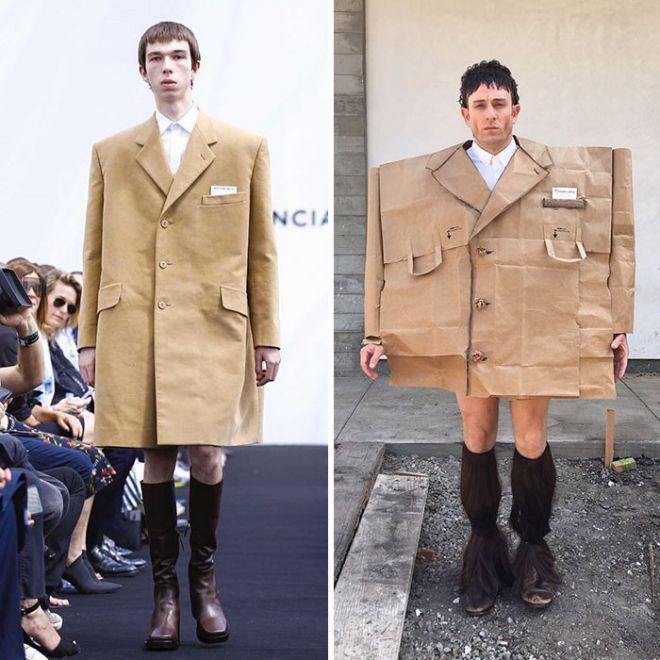 Коричневый пиджак Баленсиаго