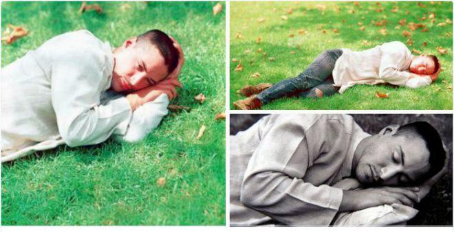 Киану спит на траве