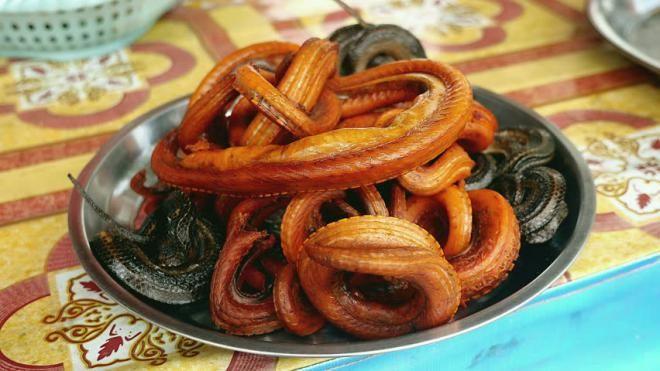 Гремучая змея, приготовленная во фритюре