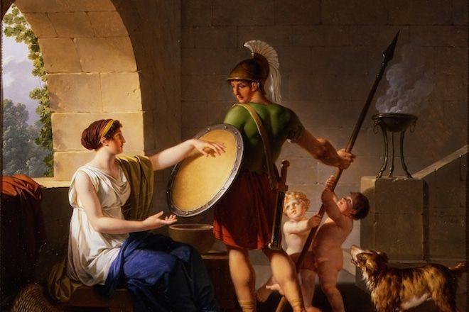 Греческий воин и его семья