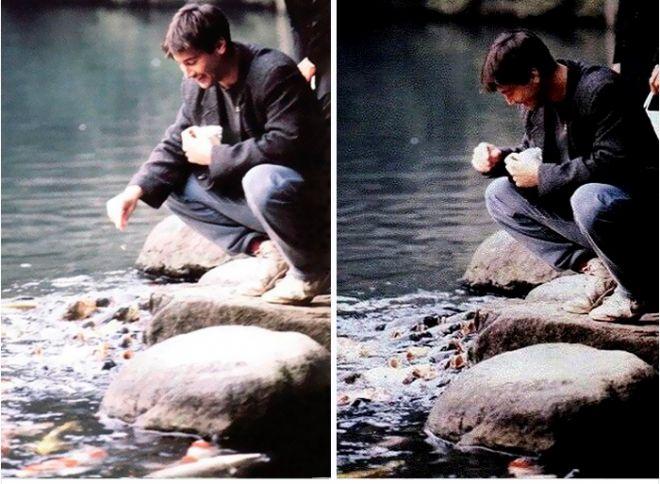 Киану кормит рыбок