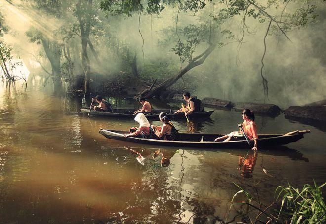 «Школьная» гребля на каное в Риау