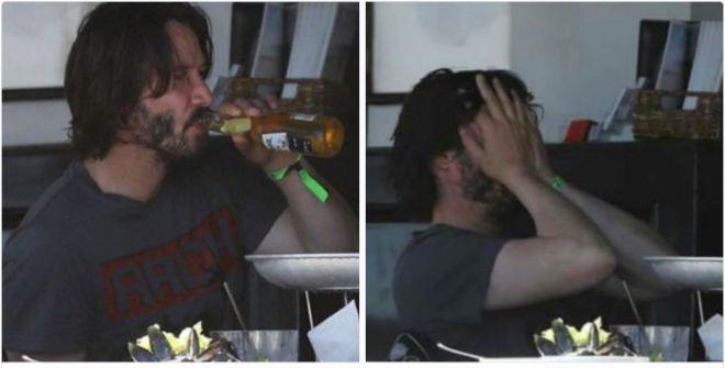 Киану пьет пиво
