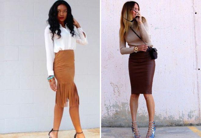 стильная коричневая юбка