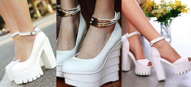 Белые туфли на платформе