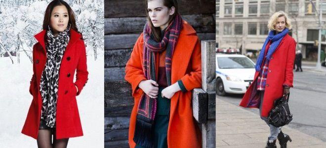 шарф под красное пальто