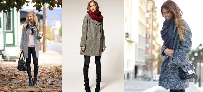шарф к серому пальто