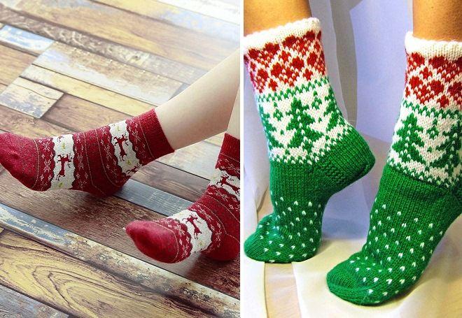 вязаные новогодние носки на ноги женские мужские детские