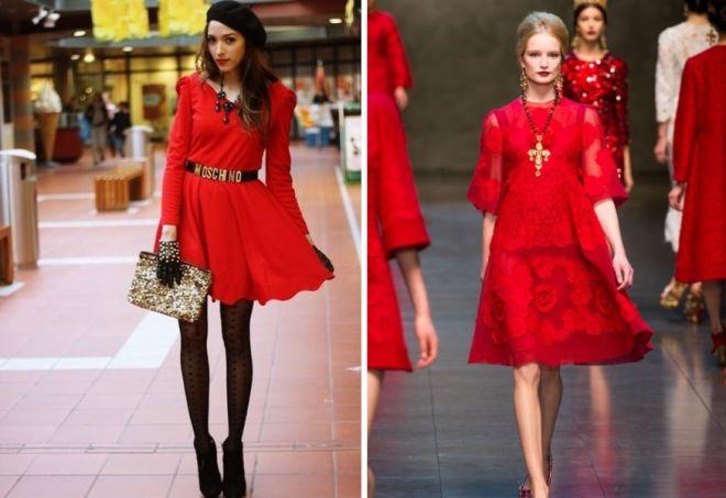 красное платье на новый год 14