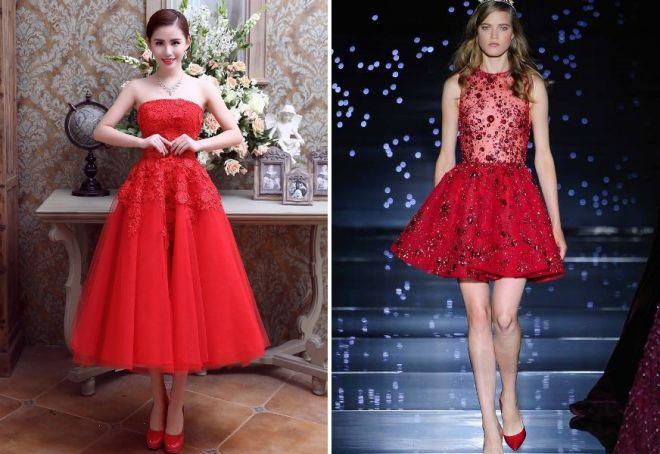 красное платье на новый год 2