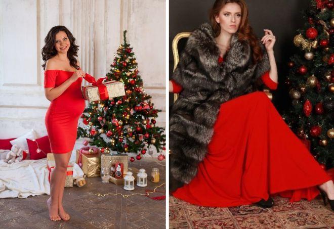 красное платье на новый год 22