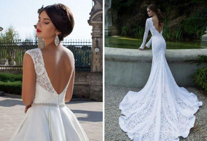 3289858b554f2de Красивые свадебные платья с открытой спиной - пышное и кружевное ...