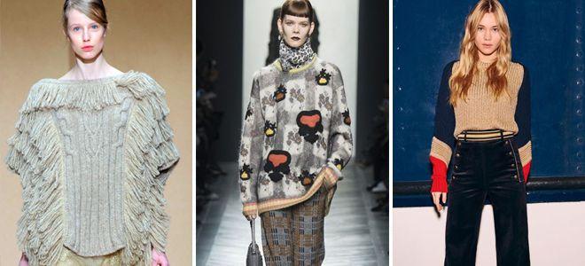 Вязаные свитера – короткие, длинные, объемные и другие модели