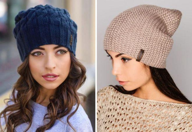 модные женские вязаные шапки с ушками помпоном косами объемные