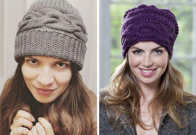 вязание шапок с ушками косами