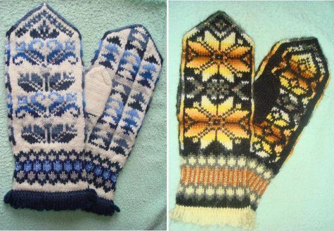 модные женские вязаные варежки с орнаментом вышивкой и рисунком