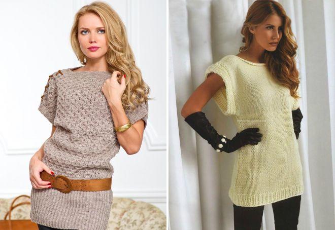 модные женские вязаные туники теплые зимние и ажурные летние