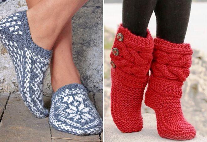 домашние вязаные тапочки на войлочной подошве следки носки