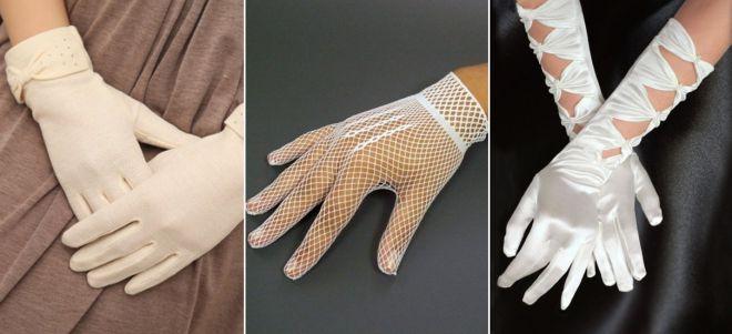 Beaux gants de femmes blanches