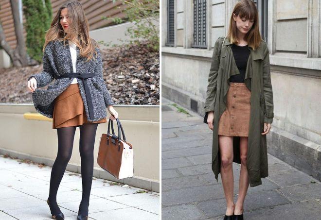 замшевая коричневая юбка