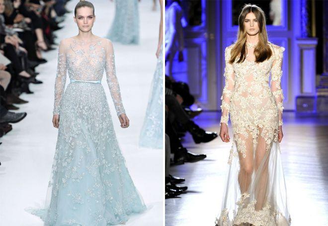 вечерние платья с кружевными вставками
